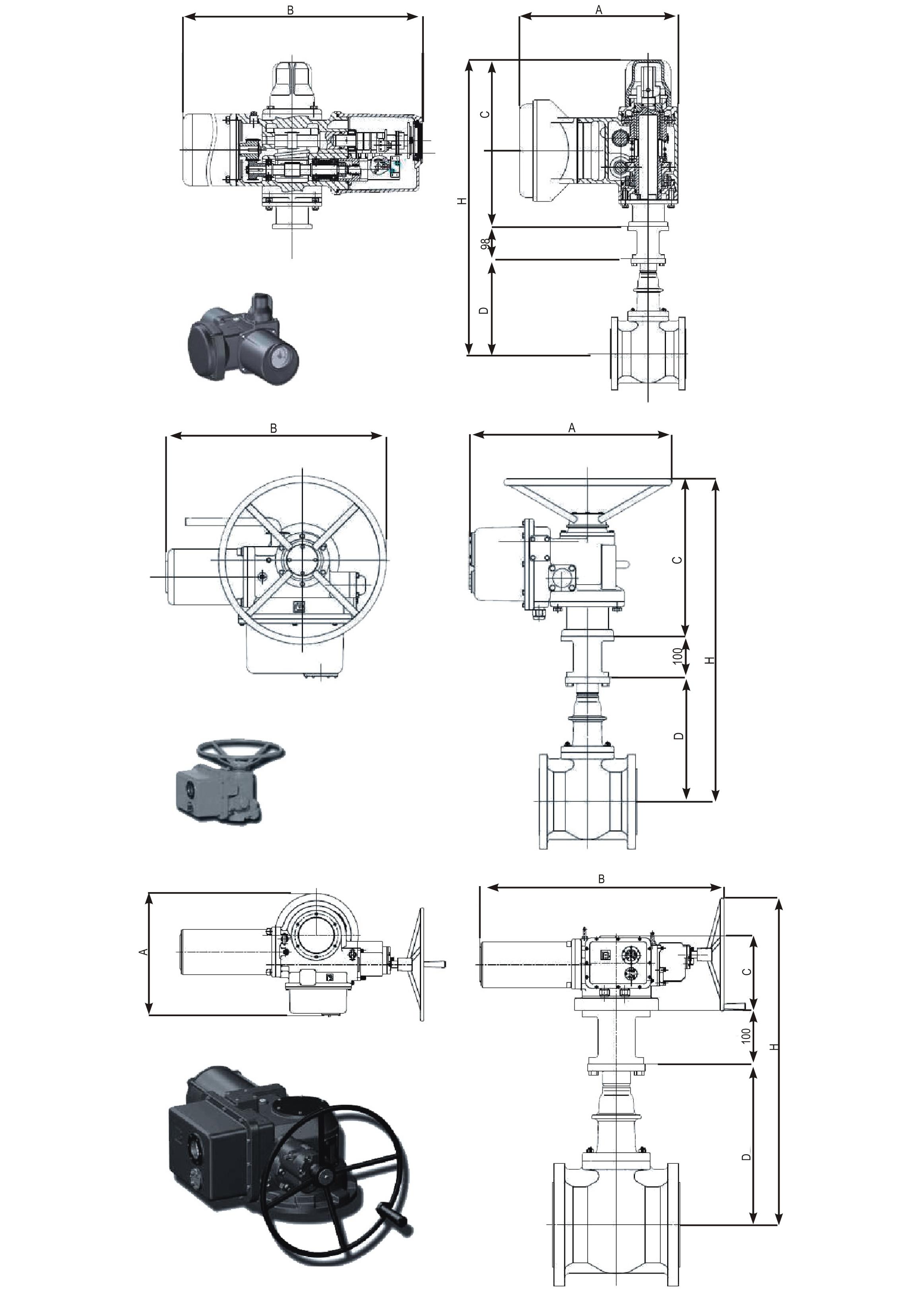 Задвижки клиновые с обрезиненным клином ABRA с электроприводами